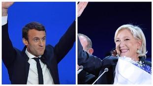 Emmanuel Macron and Marine Le Pen celebrate victory in the first round of the French presidential elections.