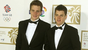 Alistair Brownlee and Jonathan Brownlee (right) arriving at the BT British Olympic Ball