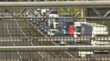 Road chaos on M40 as police respond to man on bridge