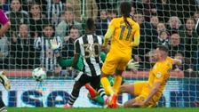 Newcastle's Christian Atsu scores his side's second goal of the game.