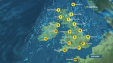 Weather: Cold and windy with sunshine and showers