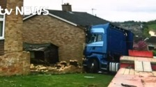 Lucky escape for man and his wife as lorry crashes into home