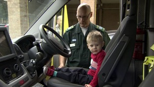 Three-year-old Max was reunited with the 999 team that saved him