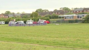 Primary school closed for second day after travellers set up camp nearby