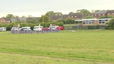 School closed for second day as travellers set up camp