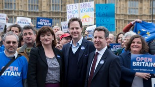 Former Cabinet minister Nicky Morgan, centre left, joined the cross-party Open Britain campaign before the EU referendum.