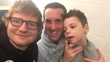 Ed Sheeran with Ollie Carroll and his dad, Mike.