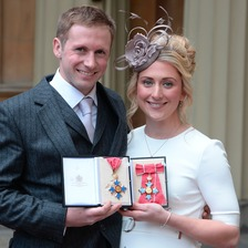 Laura and Jason Kenny after they were awarded CBEs for services to cycling by the Princess Royal.