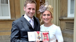 Olympic cyclists Laura and Jason Kenny honoured at Buckingham Palace