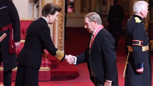 Nick Skelton is given his CBE by the Princess Royal.