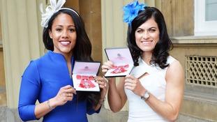 England footballers Alexandra Scott (left) and Karen Carney awarded MBEs.