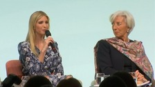 Groans as Ivanka Trump defends her father at conference