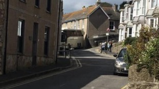 Bus trapped in St Ives