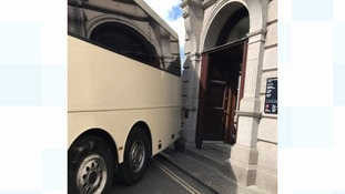 It's a tight squeeze for the coach driver who gets stuck in St Ives!