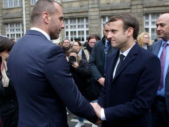 Presidential Candidate Emmanuel Macron Shook Hands With Etienne Cardlels The Partner Of Xavier Jugele