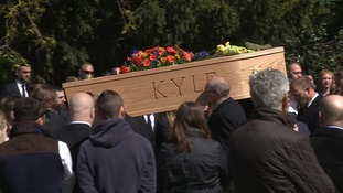 The coffin of Kyle Warren brought to church on back of a lorry 3 weeks after fatal crash near Harleston