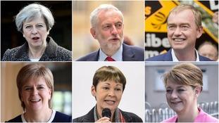 (Top row, L-R) Theresa May, Jeremy Corbyn, Tim Farron (Bottom row, L-R) Nicola Sturgeon, Caroline Lucas and Leanne Wood