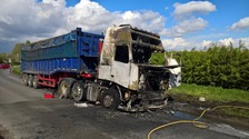 Driver escapes lorry fire in Oxfordshire