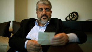 Hamas leader Khaled Meshaal pictured yesterday at his Doha office