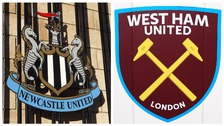 Newcastle and West Ham badges.