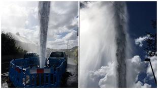Burst water hydrant