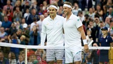Marcus and Roger Federer at Wimbledon.
