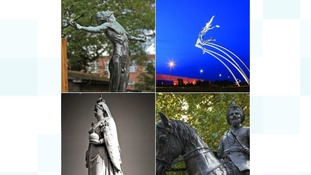 Clockwise from Left: The statue outside the Scott Polar Research Institute, the Leaping Man, Queen Victoria in Dovercourt and Duleep Singh in Thetford