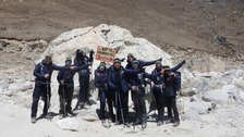 The students spent 21 days in total trekking to base camp at 5,436m - a total of 91 miles.
