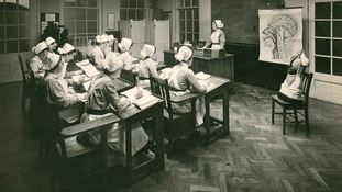 This was the nurses' classroom circa 1920.