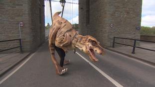 dinosaur on Clifton Suspension Bridge