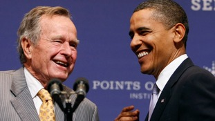 George Bush Senior with President Barack Obama.