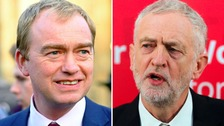 Jeremy Corbyn and Tim Farron visit key marginal seats on campaign trail