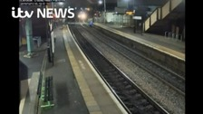 Watch: Man on tracks narrowly escapes train