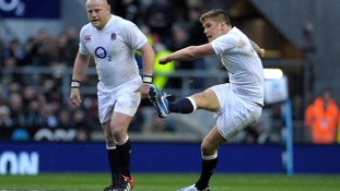 England's Owen Farrell kicks a penalty during the QBE International at Twickenham Stadium, London.