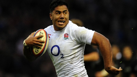England's Manu Tuilagi on his way to scoring a try.