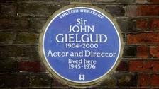 Blue plaque unveiled at Sir John Gielgud's London home