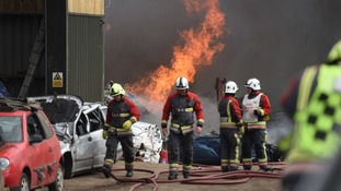 Nine fire crews battling blaze at scrapyard