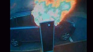 A Zafira igniting, caught on CCTV.