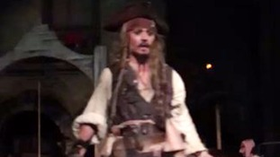Johnny Depp makes a surprise appearance on the ride.