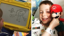 Boy, 7, diagnosed with tumour after drawing his headache