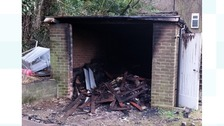 Burnt out shed.