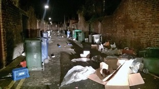 Rubbish outside a property on Devonshire Place
