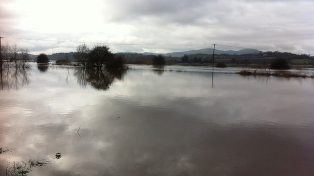 Flooding in Kempsey in Worcestershire earlier this week
