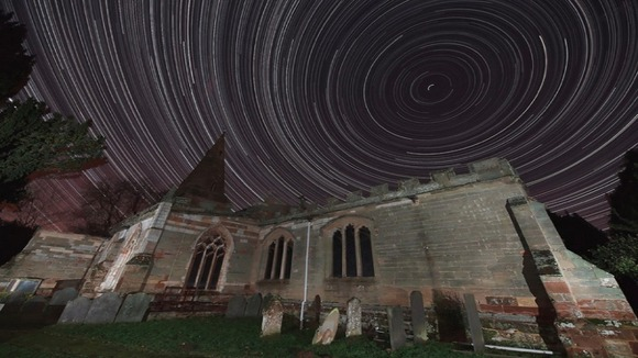 Star trails over Leicestershire's clear skies last night.