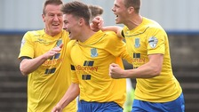 Ballymena's Kofi Balmer celebrates his goal with Allan Jenkins and Leroy Miller.