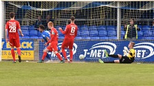 Swifts' Chris Hegarty scores to make it 2-0 during Saturday's match.