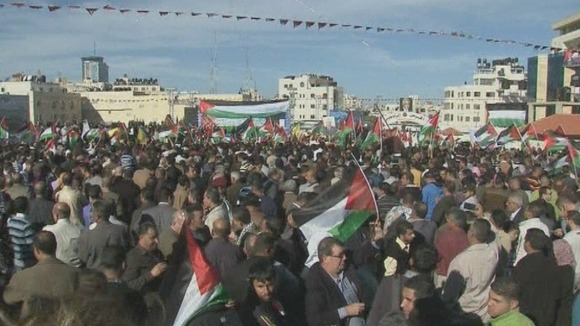 The crowds waved flags and cheered at the rally in Ramallah on the West Bank