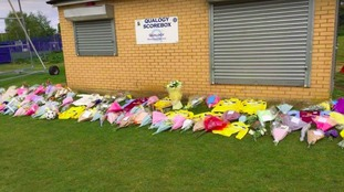 Flowers have been left at the ground in Thrapston