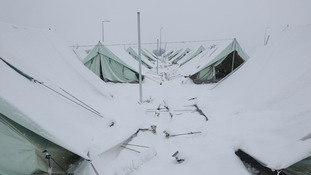 A refugee camp in Greece in winter