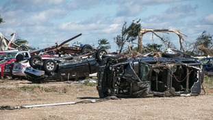 Vehicles were destroyed after a tornado in Canton, US.